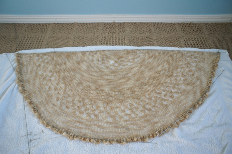 Shawl, being blocked out.